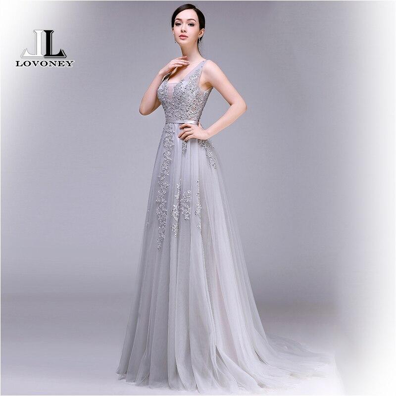480f291a8b8 LOVONEY 2019 Лидер продаж sexy-линии v-образным вырезом спинки Тюль длинное  вечернее платье