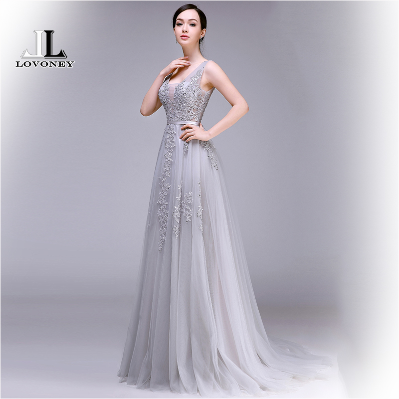 LOVONEY 2019 Hot Sale Sexy A-Line V-Neck Backless Tulle Long   Evening     Dress   Gown Formal Party   Dresses   Robe De Soiree S301