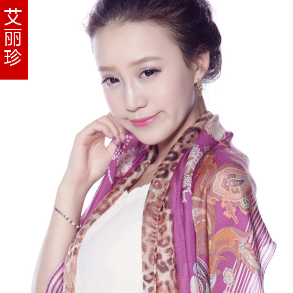 Scarf autumn and winter female wool mulberry silk scarf leopard print scarf cape send parents