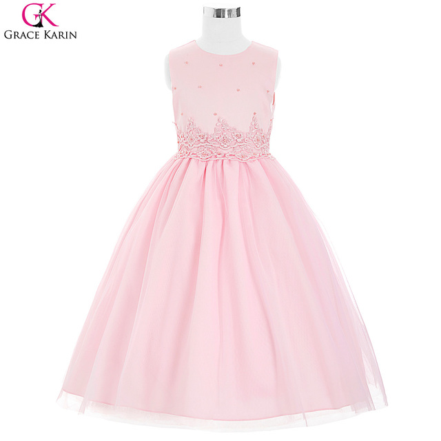 Light Pink Flower Girl Dresses for Weddings Applique Pearl ...