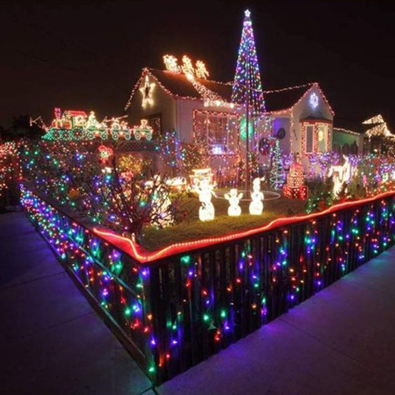 outdoor 16m 200 led solar power string fairy light waterproof christmas party garden decoration lighting in lighting strings from lights lighting on