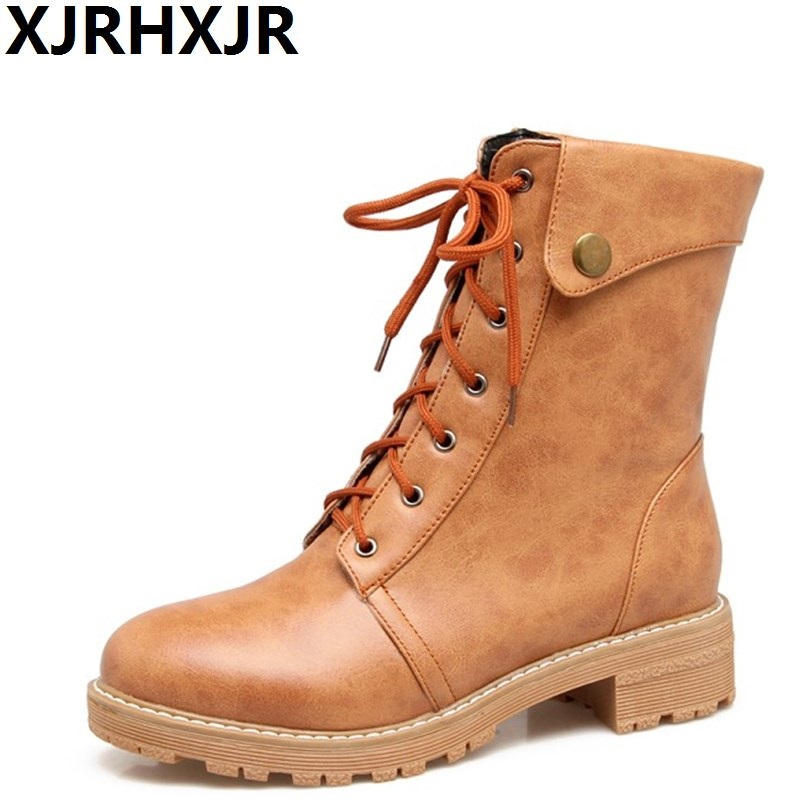 XJRHXJR Large Size 34-43 Women Thick High Heel Ankle Boots Fashion Lace Up Platform Round Toe Shoes Woman Black Gary Yellow punk platform creepers shoes womens round toe patent leather block high heel pumps lace up riding ankle boots shoes plus size