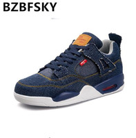 BZBFSKY 2018 Man Casual Shoes Low Top Lace Up Fashion Vulcanize Shoes Zapatos Hombre Outdoor Shoes Blue Color