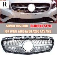 Серебристый ABS алмаз Передняя решетка решетки для Mercedes Benz W176 A CLASS A180 A200 A260 A45 AMG 2013 2014 2015 без звезда логотип