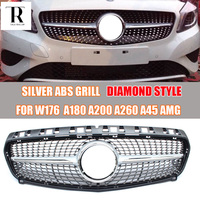 Silver ABS Diamond Front Grill Grille for Mercedes Benz W176 A CLASS A180 A200 A260 A45 AMG 2013 2014 2015 Without Star Logo