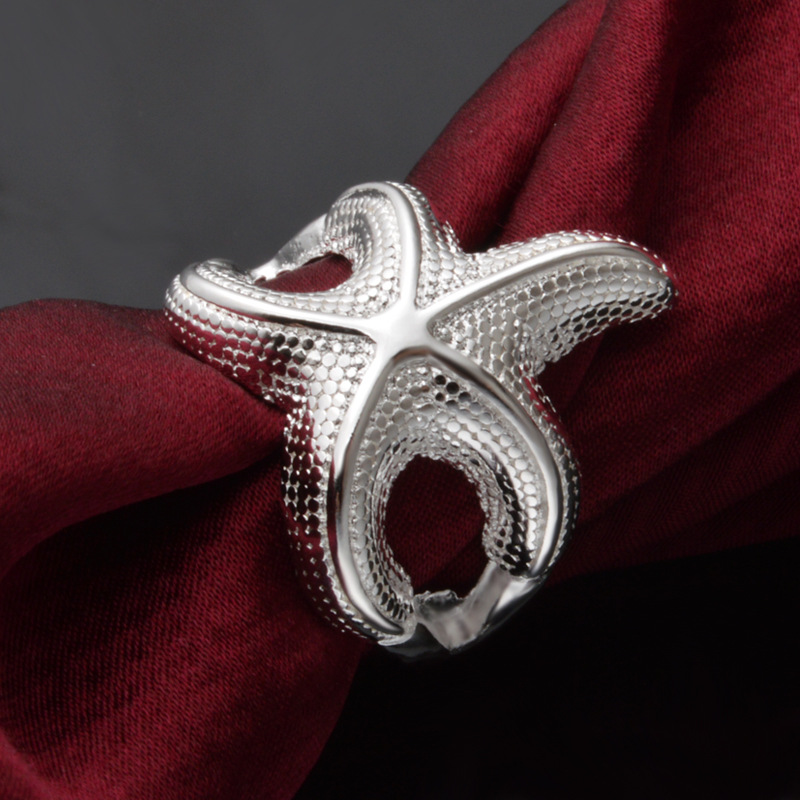 OMHXZJ Wholesale Personality Fashion OL Woman Girl Party Wedding Gift Silver Sea Star 925 Sterling Silver Ring RN274 in Rings from Jewelry Accessories