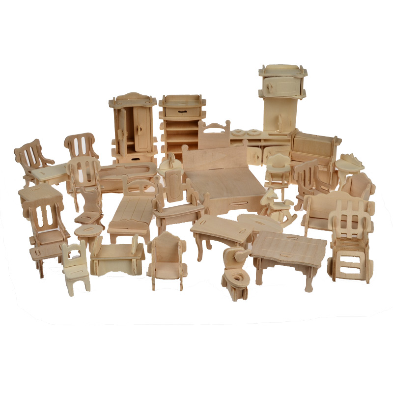 1SET=34PCS , BOHS Wooden Doll House Dollhouse Furnitures Jigsaw Puzzle Scale Miniature Furniture Models DIY Accessories Set