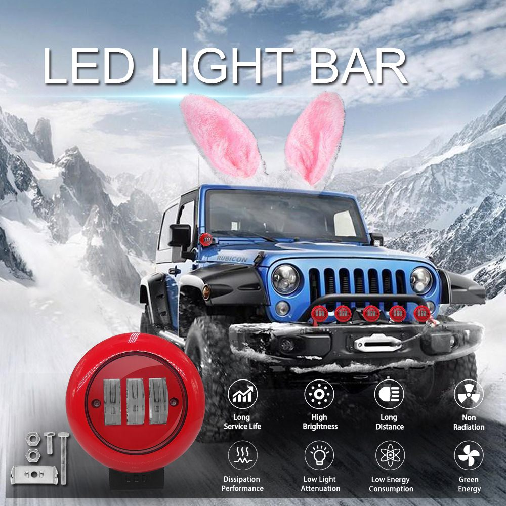 Image 2 - 1pcs 30W 6000K Red Round Work Light Spot Spotlight For Offroad Truck Tractor SUV Driving Lamp 4000lm Flux Red Round Work Light-in Light Bar/Work Light from Automobiles & Motorcycles