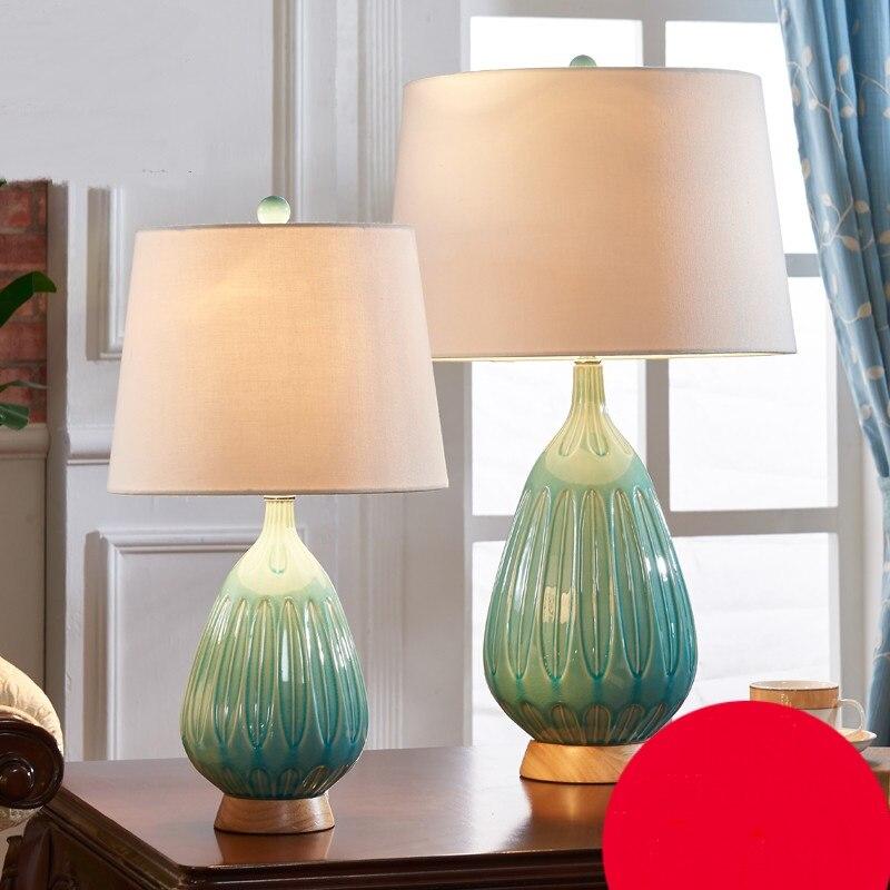 Европейский керамическая настольные лампы простой современная спальня ночники теплая свет американский китайский живых огней za6230