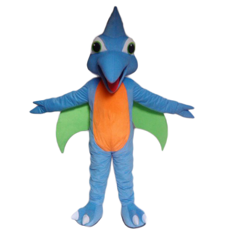 Fancy Blue Woodpecker Mascot Costume Woody Bird Adult With Long Blue Haired Big Yellow Mouth