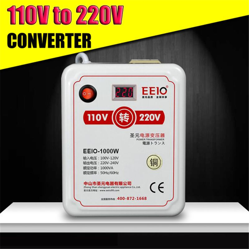 1000VA 1000W Watts AC 110V to AC 220V Voltage Power Converter Transformer Travel Adapter
