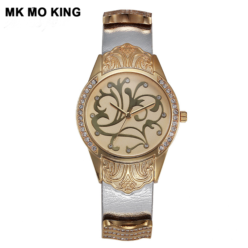 Luxury Brand Leather Gold Round Women's Waterproof Men / Ladies Rhinestone Quartz Watch Bracelet Clock Mk Reloj Para Pareja