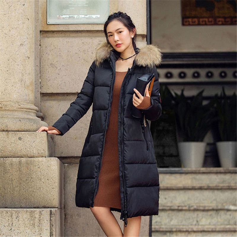 New 2016 Winter Parka Woman Large Faux Fox Fur Collar Hooded Cotton Padded Elegant Jacket Slim Fashion Coat Women A1437