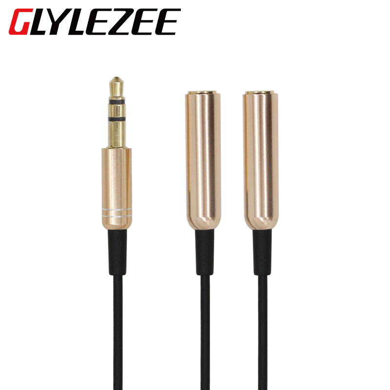 glylezee metal 3 5mm audio headset tieline adapter couples line earphone headphones 1 split in 2. Black Bedroom Furniture Sets. Home Design Ideas