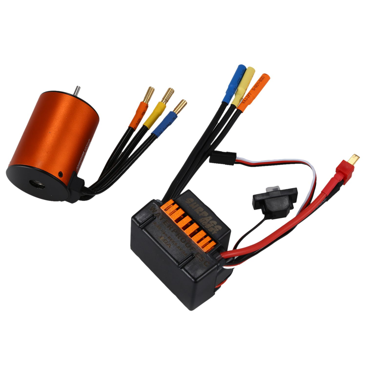 New SURPASS HOBBY Upgrade Waterproof 3650 3900KV RC Brushless Motor with 60A ESC Combo Set for 1/10 RC Car Truck Motor kit rc car motor esc henglong 3851 2 1 10 rc car mad truck parts 550 brush motor 320a brush esc free shipping