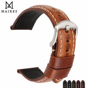 Image 1 - MAIKES רצועת השעון וינטג שמן שעווה עור רצועת שעון צמיד 20mm 22mm 24mm שעון אביזרי שעון להקת עבור panerai אזרח