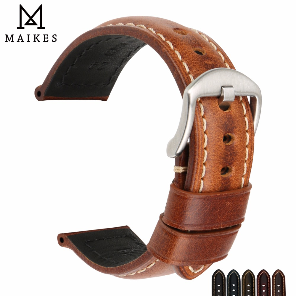 MAIKES Watchband Vintage Oil Wax Leather Strap Watch Bracelet 20mm 22mm 24mm Watch Accessories Watch Band For Panerai Citizen
