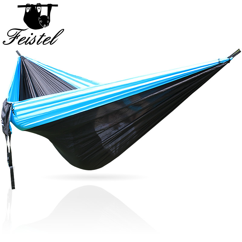 Nylon Hammock Portable Folding Ultralight Parachute Camping Hammock Garden Swing Double People Hamak Can Hold 300 Kg