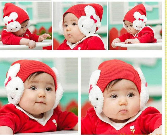 Hot sale! baby lovely rabbit hat ! 5pcs/lot girls winter hats Baby hat in five colors