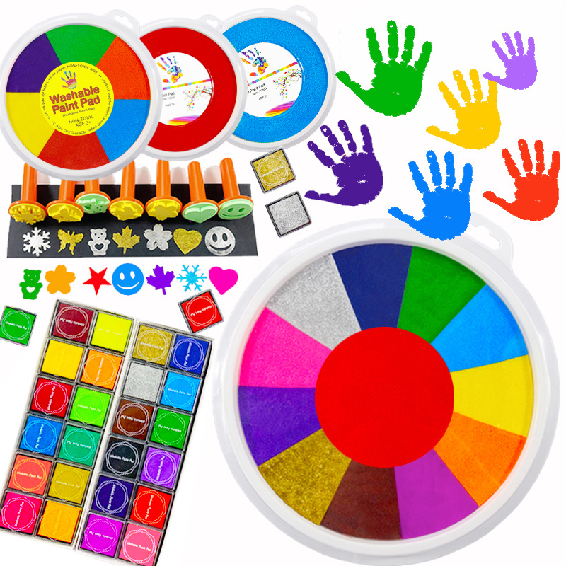 24cm Funny 6-24 Colors Ink Pad Stamp DIY Finger Painting Craft Cardmaking For Kids Montessori Drawing 0-12 Months Baby Toys