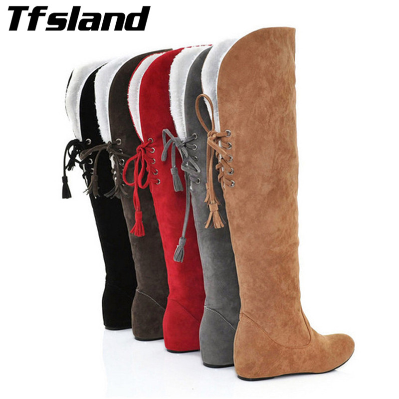 Tfsland New Women Snow Boots Hidden Wedges Round Toe Lace Up Spring Autumn Fur Shoes Winter Over Knee High Boots Walking Shoes цены онлайн