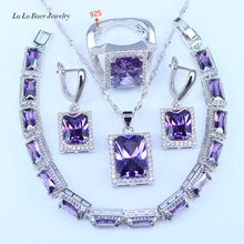 L&B 2017 new arrival 925 Logo Silver Color Jewelry Sets Square Purple Crystal White Zircon Engagement Pendant Drop Earrings