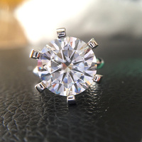 10 Carat Rouund Brilliant DF Color Moissanite Ring Solid 14K White Gold 6 Prong Setting Solitaire Engagement Ring For Women