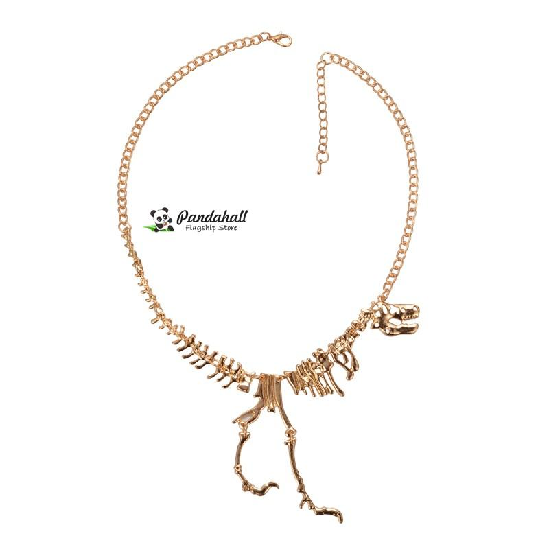 Alloy <font><b>Dinosaur</b></font> <font><b>Bones</b></font> Bib Necklaces, with Iron Chains and Lobster Claw Clasps, Golden, 17.7""