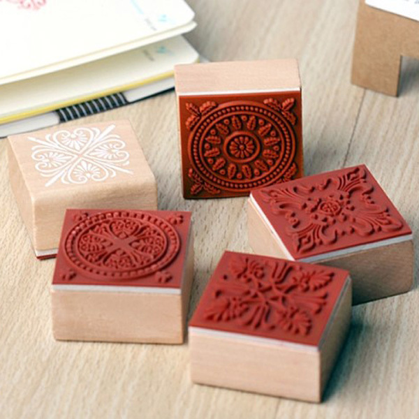 Diy Photo Album Necessary Square Lace Series Korea Manual For Classic Wooden Seal Pattern Wooden Square Seal