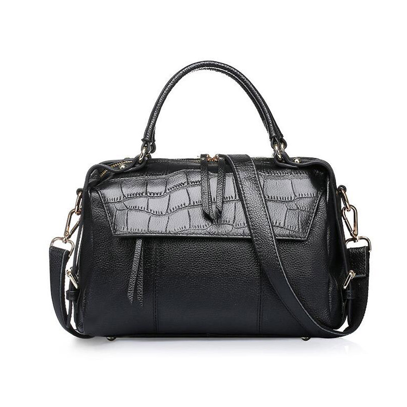 Famous Brand women solid color genuine leather shoulder bags Fashion lady Fringed handbag female Crocodile boston bag totes bag luxury genuine leather bag fashion brand designer women handbag cowhide leather shoulder composite bag casual totes