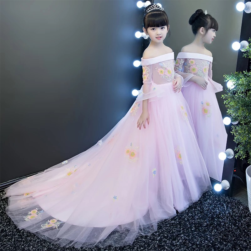 2017 New Luxury Princess Embroidery Flowers Girl Dress For Weddings Birthday Party Pageant Dress With Long Train For Baby Girls new european luxury children girls embroidery flowers long train princess dress for birthday wedding party kids pageant dress