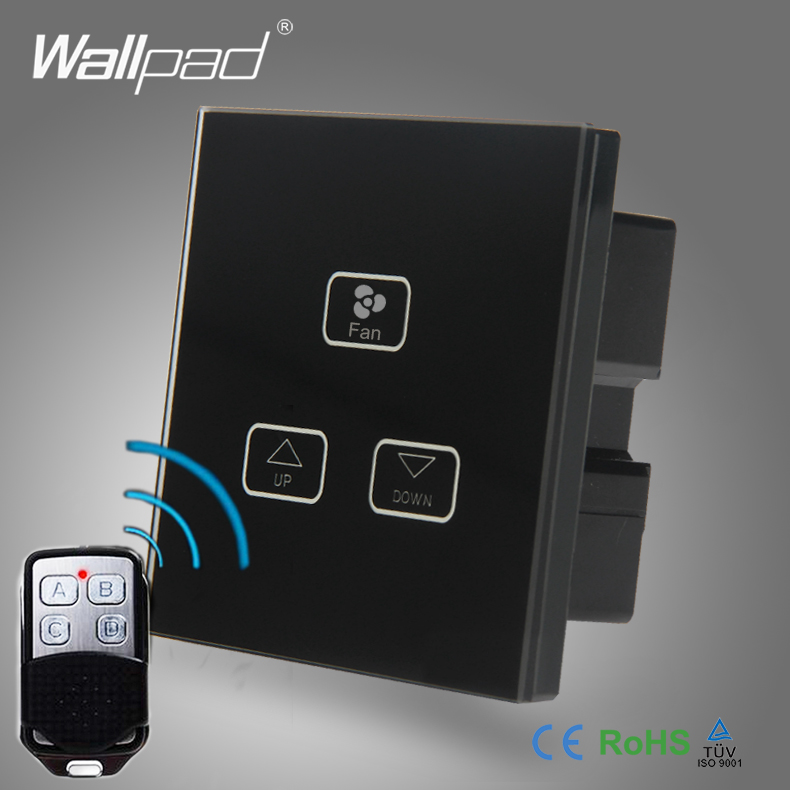 Ceilling 3 Gang Remote Fan Switch Wallpad Black Glass Switch Led 3 Gang RF Remote Control Fan Speed Regulator Change Wall Switch 3 speed change remote and manual control 60 90 120 secs circle 60x10cm electric turntable display stand rotary model show