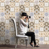 2017 New Design 25Pcs Vintage Home Decor Wall Sticker Self Adhesive Tile Art Wall Decal Sticker