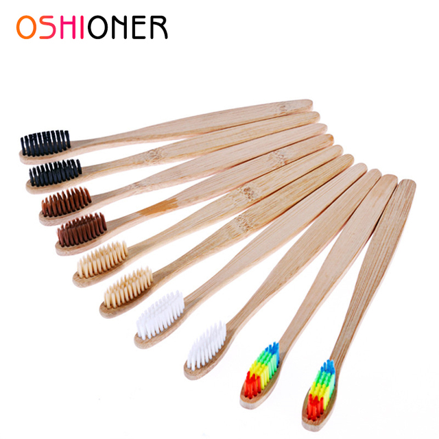 OSHIONER 1 PC Natural Bambú de la manija de cepillo de dientes de arco iris colorido blanqueamiento de las cerdas de cepillo de dientes de respetuoso del medio ambiente de cuidado Oral