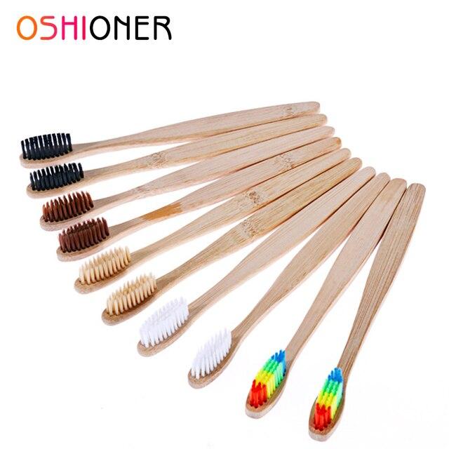 OSHIONER 1 PC mango de bambú Natural cepillo de dientes Arco Iris colorido blanqueamiento cerdas suaves cepillo de dientes de bambú respetuoso con el medio ambiente cuidado bucal