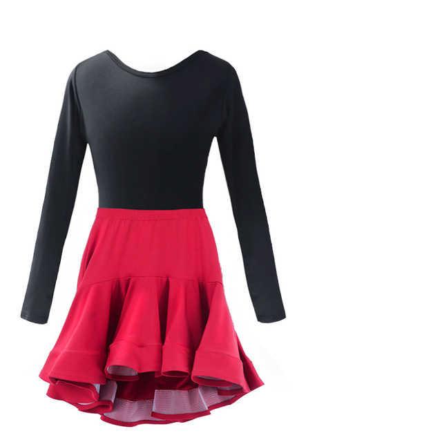 Neue Mädchen Salsa Tango Rumba Latin Dance Kleid Kinder Kind Ballsaal Tanzen Kleider Rot Cocktail Meerjungfrau Rock