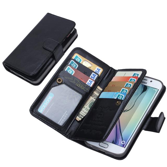 9 SLOTS de cartão de couro de luxo borda de telefone para Samsung Galaxy S6 Smartphone Android telefone móvel Celular para Samsung S6