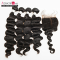 Arison Brazilian Loose Wave 4 bundles with Lace Closure Unprocessed Human hair weave Brazilian virgin hair with closure