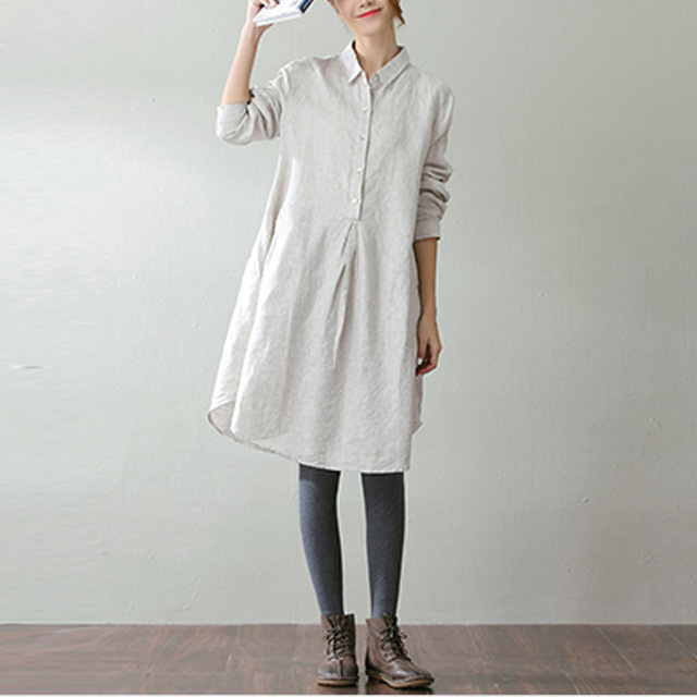 ac8265d704c4f 2018 Spring ZANZEA Elegant Women Turn Down Collar Long Sleeve Solid Cotton  Linen Loose Long Shirt Dress Pockets Buttons Blusas