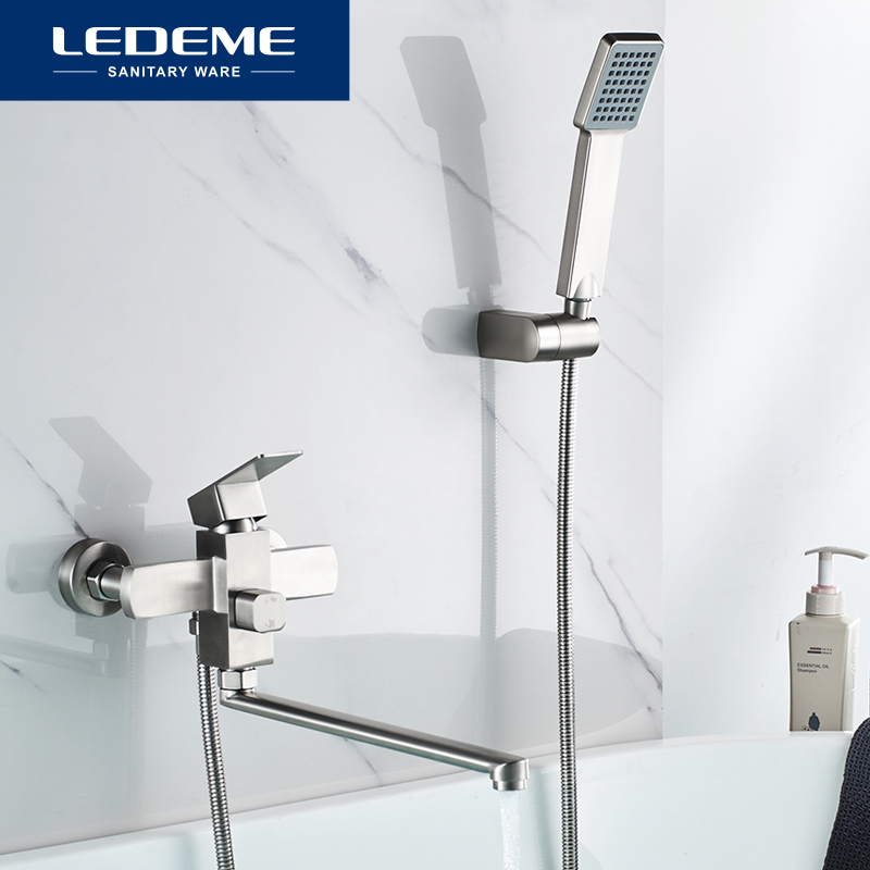 LEDEME Stainless Steel Shower Faucet Set Bathtub Shower Faucet Bathroom Shower Head Wall Mixer Tap Bath Shower Tap L72233