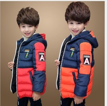 2017 Autumn Winter Coat Boy Hooded Boys Winter Jacket Teenager Boys Coat Colorant Match Down Cotton Boys Outerwear 15 Years Old