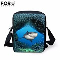 FORUDESIGNS 3D Printing Casual Men Messenger Bags Cool Animal Underwater Dolphin Mini Shoulder Bags for Women Satchel Bolsas