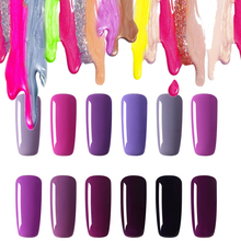 Most popular 12 colors Hot Sale Healthy and Eco-friendly Purple Gel Nail Polish Soak Off Gel Lucky 10ML UV Nail Varnish Gouserva