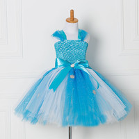 Tulle Tutu Dress Princess Anna Elsa Dress Snow Queen Halloween Party Vestidos Cosplay Costume Girl Dress