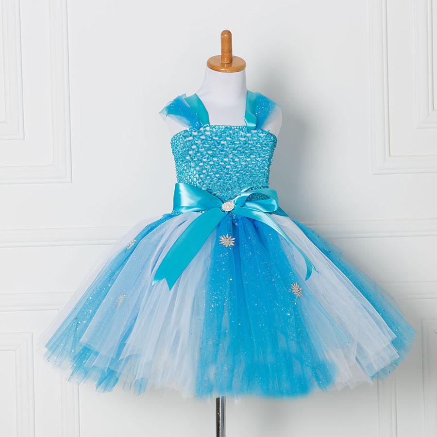 Tulle Tutu Dress Princess Anna Elsa Dress Snow Queen Halloween Party Vestidos Cosplay Costume Girl Dress Summer Girls Clothes children girl tutu dress super hero girl halloween costume kids summer tutu dress party photography girl clothing
