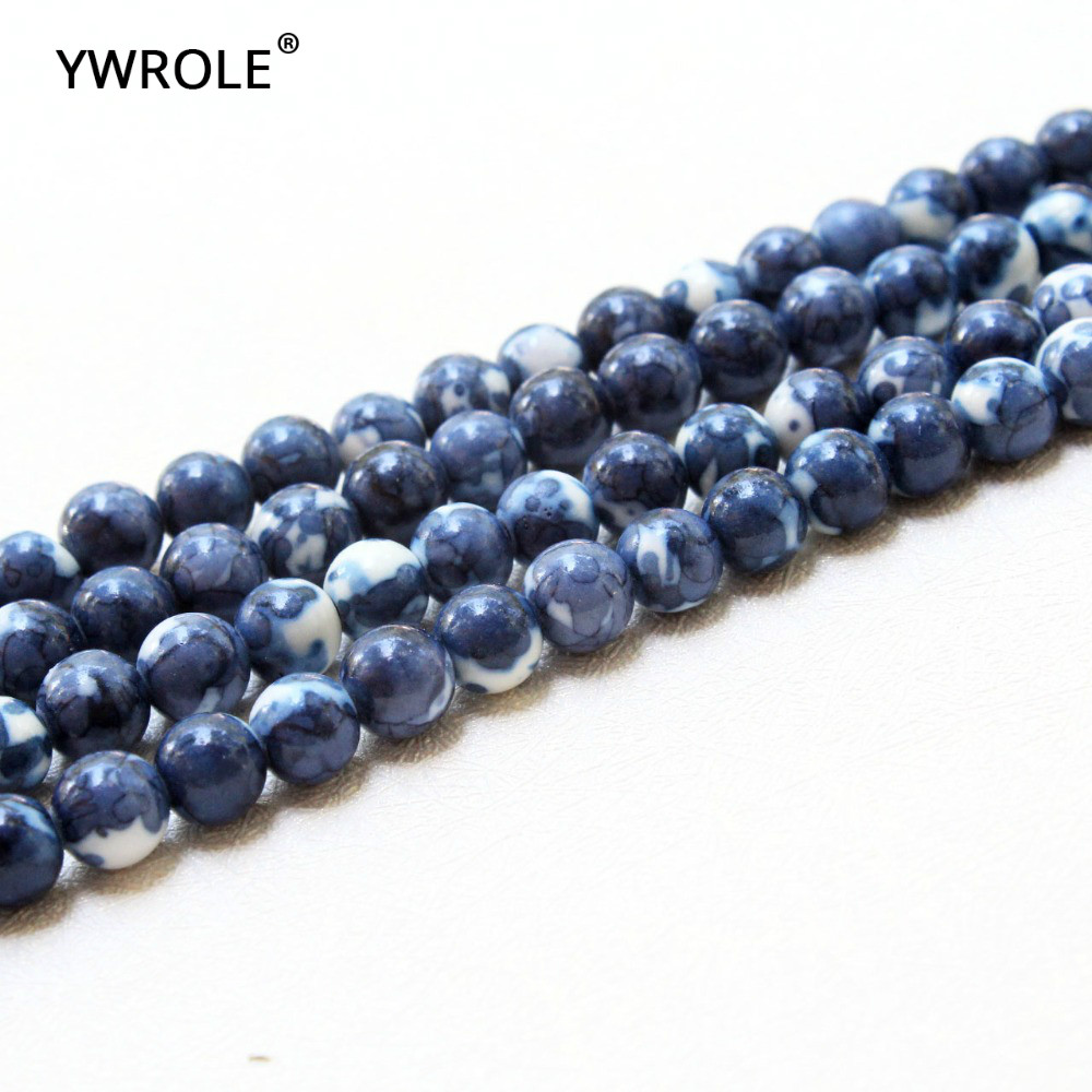 Considerate Rainstone Pattern Dye Deep Blue Natural White Stone Beads For Jewelry Making Diy Bracelet Necklace 4/6/8/10/12 Mm Strand 15 Fashionable In Style;