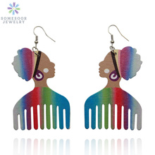 SOMESOOR Rainbow Color African Headwrap Comb Wood Drop Earrings Afrocentric Natural Hair Ethnic Bohemian Jewelry For Women Gifts