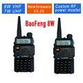 2 unids/lote baofeng uv-5r 8 w uv-8hx radioafición walkie talkie uhf y vhf 136-174 mhz y 400-520 mhz 128 de banda dual de dos wayradio retevis rt-5r