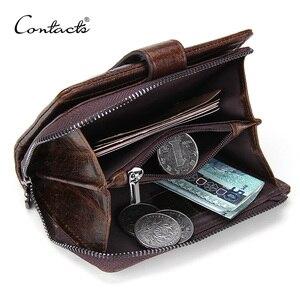 Image 1 - CONTACTS 100% Genuine Leather Mens Wallet Hasp Design Vintage Men Wallets Coin Purse Short Male Wallet Man Portomonee Walet