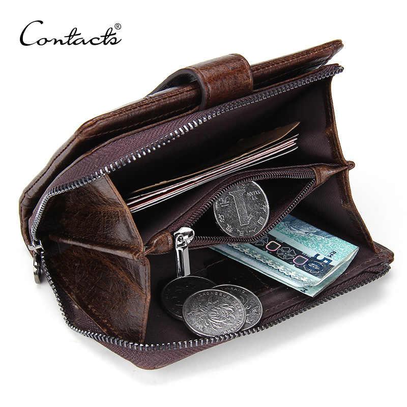 Contact's 100% carteira de couro genuíno dos homens ferrolho design do vintage carteiras masculino bolsa de moedas curto carteira homem portomonee walet